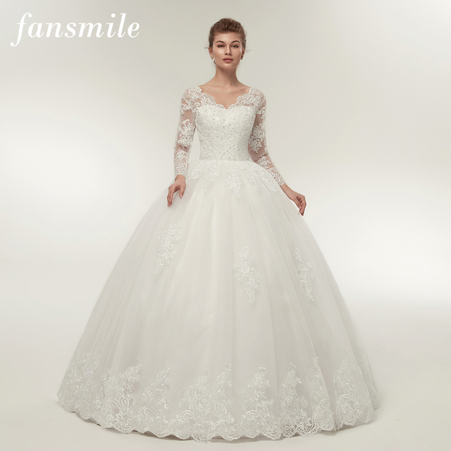 Fansmile Quality Vintage Lace Up Wedding Dresses Long Sleeve 2019  Customized Plus Size Bridal Ball Gown Robe de Mariage FSM-140F 58f7c7ae6ce1