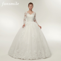 Fansmile Quality Vintage Lace Up Wedding Dresses Long Sleeve 2017 Customized Plus Size Bridal Ball Gown Robe de Mariage FSM 140F