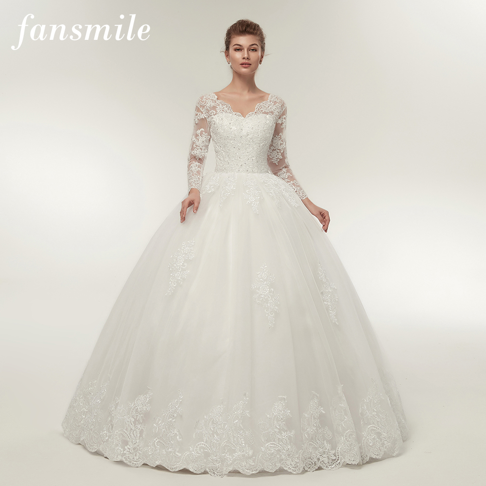 Fansmile Quality Vintage Lace Up Wedding Dresses Long Sleeve 2020 Customized Plus Size Bridal Ball Gown Robe De Mariage FSM-140F