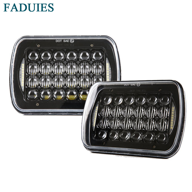 FADUIES DOT Approved 5x 7 6x 7 Black Projector LED Headlight For Jeep Wrangler YJ Cherokee XJ H6054 H5054 With Angel Eyes