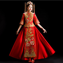 Vestido Qipao de boda tradicional Vintage para Mujeres Asiáticas Qipao delgado de novia china de diamantes S-3XL imitación