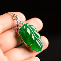 Certificate Natural Medullary Jade Medullary Necklace Pendant Carved leaf 925 silver Women Men Jewelry gift with Box