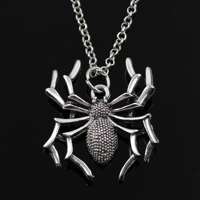 New Fashion Spider Halloween Pendants Round Cross Chain Short Long Mens Womens Silver Color  Necklace Jewelry Gift 1