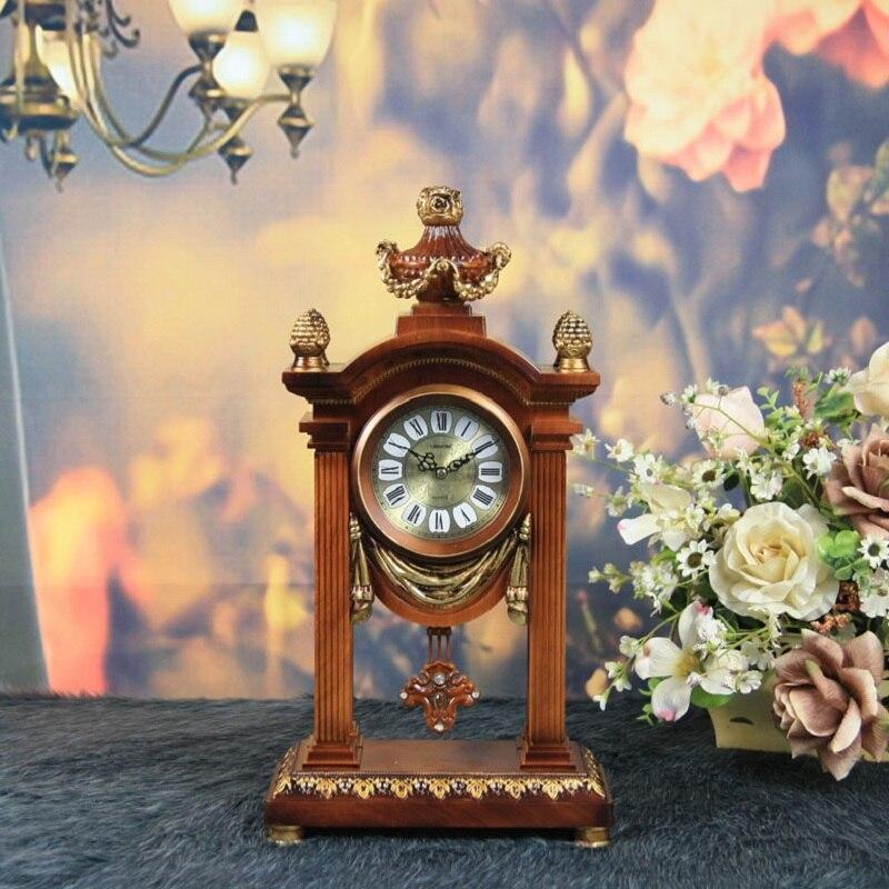 N Meijswxj 2017 horloge de bureau à pendule en résine réloj rétro support horloge Masa saati horloges de Table Relogio de mesa décor à la maison
