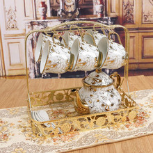 13pcs European style Royal bone China ceramic cup and saucer tea cup household water cup included 6 cups and 6 saucer 1 holder