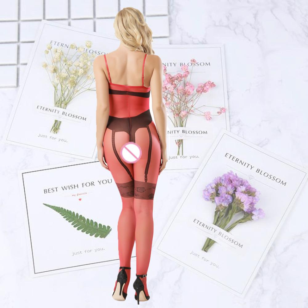 Sexy Lingerie underwear open crotch mixed color Transparent onesies straps body stocking in Teddies Bodysuits from Novelty Special Use