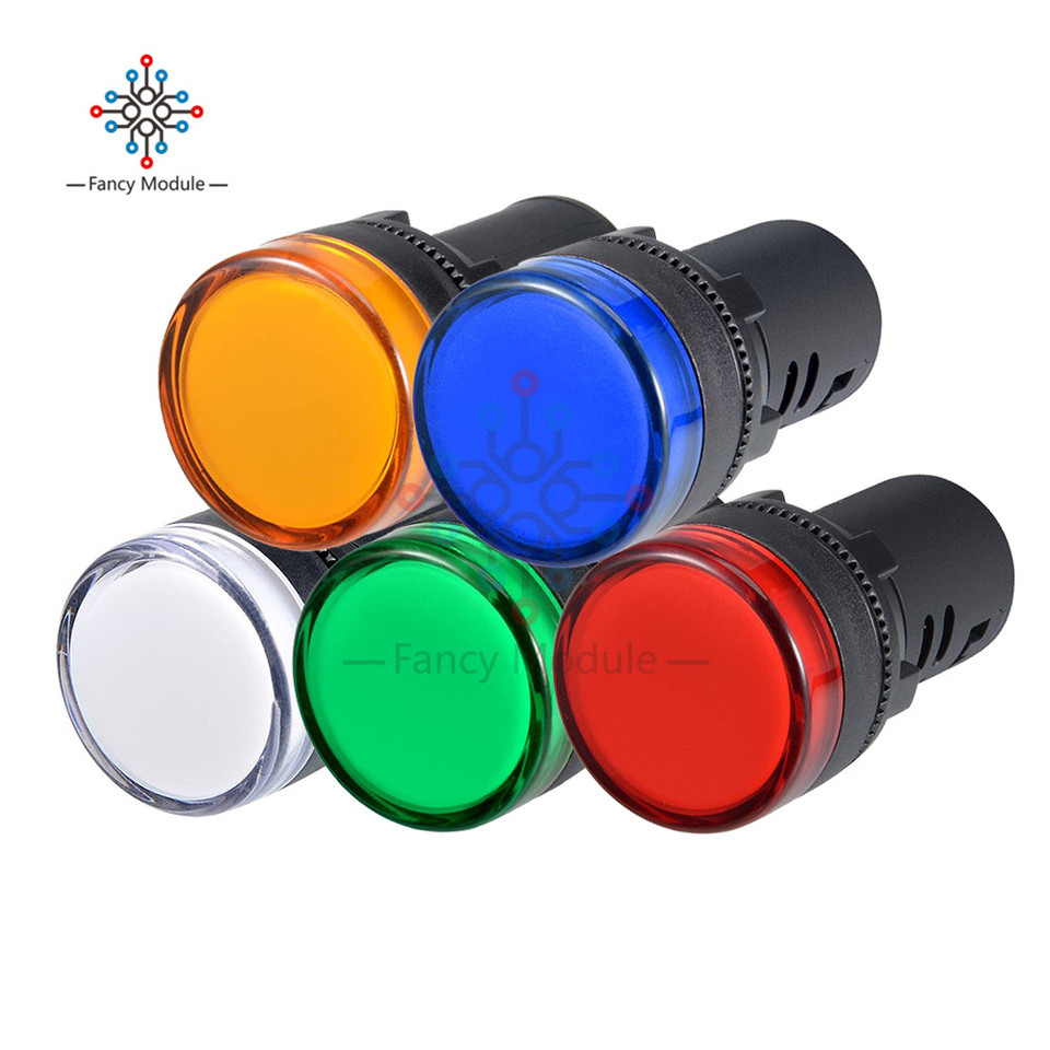 12V AC//DC Lot of 10 LED Indicator Lamp Signal Light AD16-22DS 22mm RED