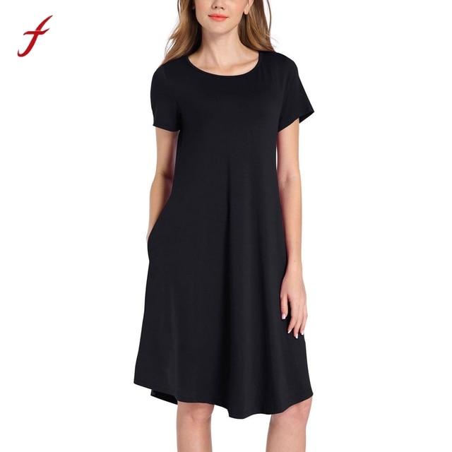 8cd03c33d3 Women's Short Sleeve O Neck Dress Loose Knee-Length Casual Solid Swing T-shirt  Dresses solid robe femme elbise roupas de praia