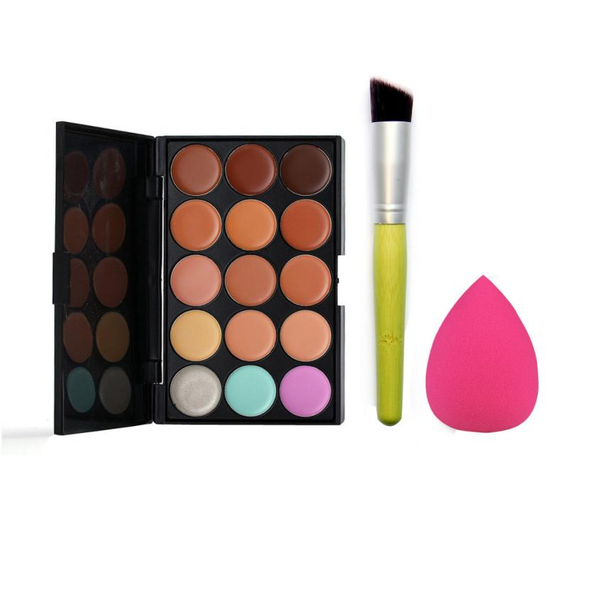 15 Color Contour Face Makeup Concealer Palette Corrector Make up Base Pallete+Sponge Puff+Powder Brush Set JU10 drop shipping 15 color concealer palette sponge puff 24 pcs cosmetic makeup brushesx703