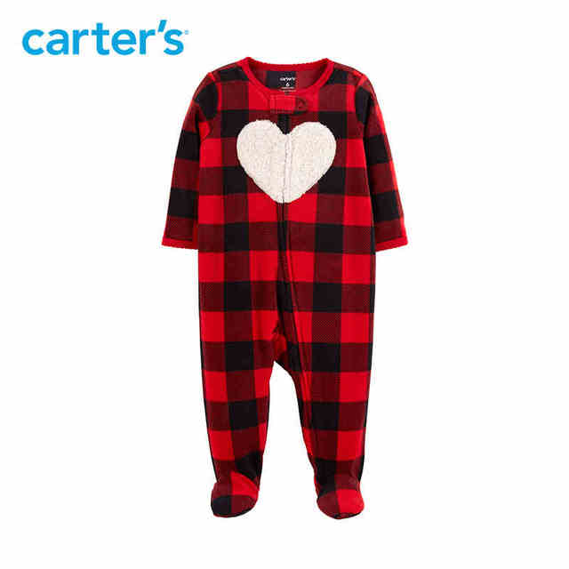 6df2bab5d01c Carters baby girl footies Buffalo Check Zip Up Fleece Sleep   Play ...