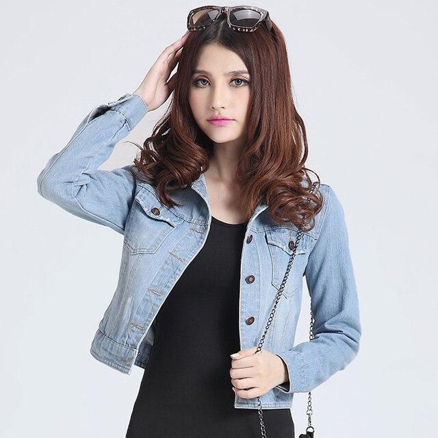 83f34a80a US $38.44 |Femmes vestes manteaux 2016 Nouvelle mode jeans Vestes Denim  Femmes mince coton solide Veste pour femmes Manteaux dames veste-in Basic  ...
