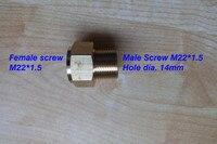 여성 및 남성 자동차 세탁기 호스 어댑터 커넥터  한쪽 끝 여성 m22 * 1.5mm  다른 끝 남성 m22 * 1.5 구멍 직경 14mm