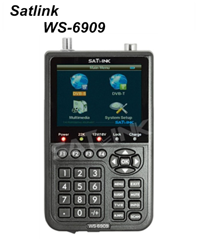 Original Satlink WS-6909 DVB-S & DVB-T Combo Digital Satellite Finder Meter & Terrestrial Signal Finder Meter 3.5 LCD satlink ws 6979se dvb s2 dvb t2 mpeg4 hd combo spectrum satellite meter finder satlink ws6979se meter pk ws 6979