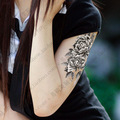 Grande flor etiqueta do tatuagem do braço do sexo tatuagem temporária adesivos para as mulheres à prova d ' água etiqueta do tatuagem Body Art