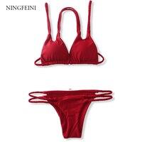 NINGFEINI Bikini Set 2017 Women Sexy Swimsuit Knitted Handmade Brazilian Biquini Bikinis Set Female Beach Bathing