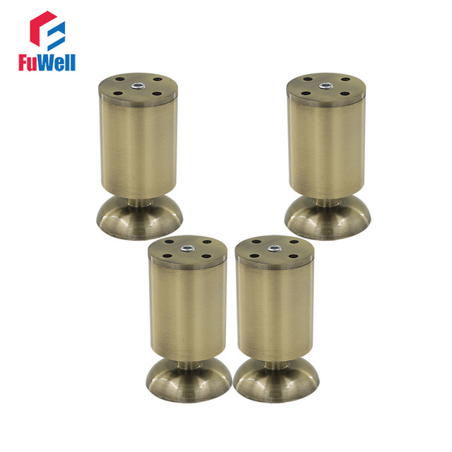 4pcs 100mm Length Adjustable Furniture Leg Cabinet Feet Aluminum Alloy  Bronze 50mm Diameter Table Bed Sofa