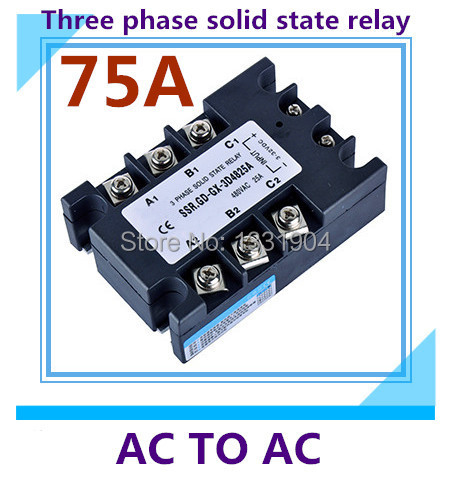 free shipping AC to AC SSR-3P-75AA 75A SSR relay input 90-280V AC output AC380V Three phase solid state relay цена 2017
