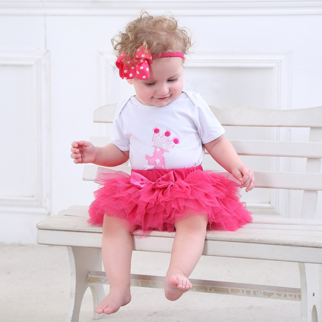 Fashion Baby Girl clothing Set Bodysuit jumsuit set Cotton Romper+6 layer tutu skirt Headbands Infant 1st Birthday Clothing suit 4