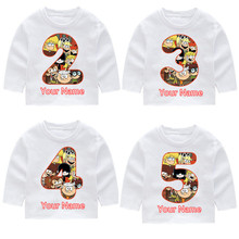 The Loud House Childrens Fashion Cotton Birthday Number Long Sleeve T-shirts Kids Tops Baby Girl Harajuku Clothes