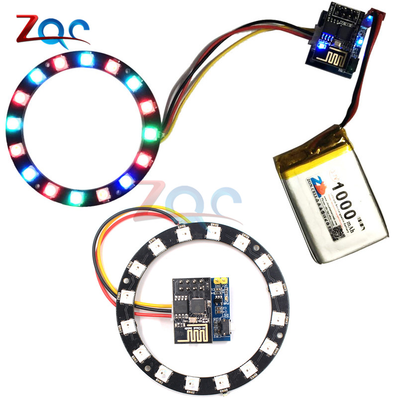 US $5 65 7% OFF|ESP8266 ESP 01 ESP 01S RGB LED Controller Adpater WIFI  Module for Arduino IDE WS2812 WS2812B 16 Bits Light Ring Christmas DIY-in