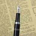 Luxo Baoer 051 Estudar o Negócio Inoxidável Liso Preto Médio Nib Fountain Pen
