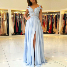 Bbonlinedress 2019 A-Line Chiffon Prom Dresses Lace Illustion Evening Sweetheart Gowns Vestido de fiesta Split
