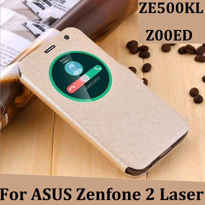 5.0inch Open window cover For ASUS Zenfone 2 Laser Case cover leather phone Cases For ASUS ZE500KL/Z00ED case cover filp shell image