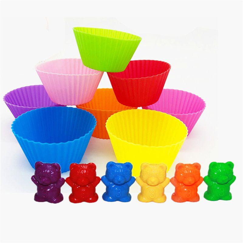 NEW Counting Bears With Stacking Cups - Montessori Rainbow Matching Game, Educational Color Sorting Toys For Toddlers Baby