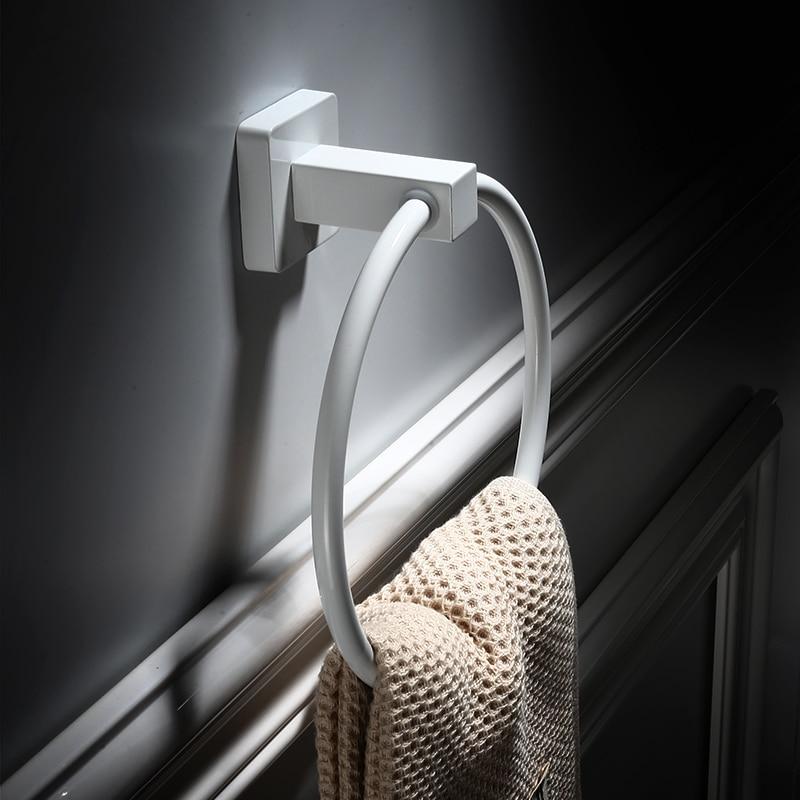 European Elegant White Stainless Steel Towel Ring Hand Rack Roll Rail Towel Holder Toilet Furnitures Bathroom Hardware