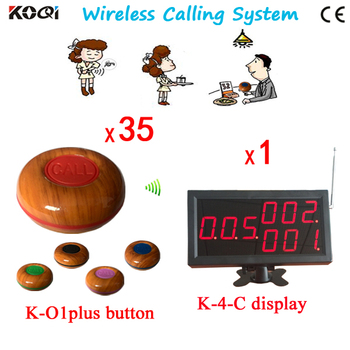 1 Set Wireless Calling System Waiter Call Service Paging System for Restaurant , 1 Panel Receiver+35 Buttons Free Ship