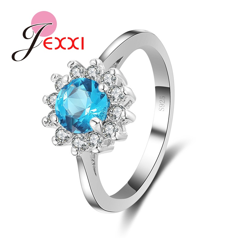 jexxi hot selling christmas gift wholesale 925 sterling silver woman wedding engagement rings classic blue crystal jewelry - Sell Wedding Ring