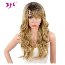 Deyngs Long Synthetic Hair Wigs For Black Women Bouncy Curly Natural Ombre Black/Red/Orange Color Hairpiece With Bangs Party Wig