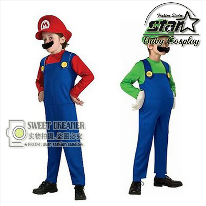 Halloween Costumes Children Funny Super Mario Luigi Brother Costume for Kid Children Boys Girls Carnival Cosplay Jumpsuit super hero boys halloween cyclops performance costume superhero jumpsuit for children masquerade stage party costume