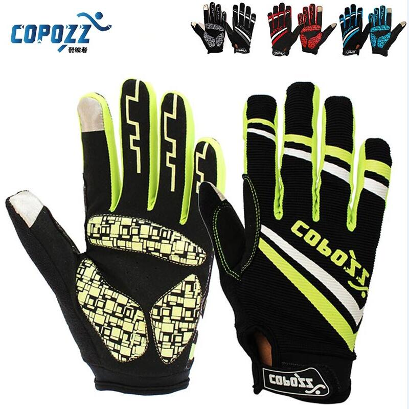 Copozz Brand New Gel Full Finger touch screen font b bike b font cycling gloves anti