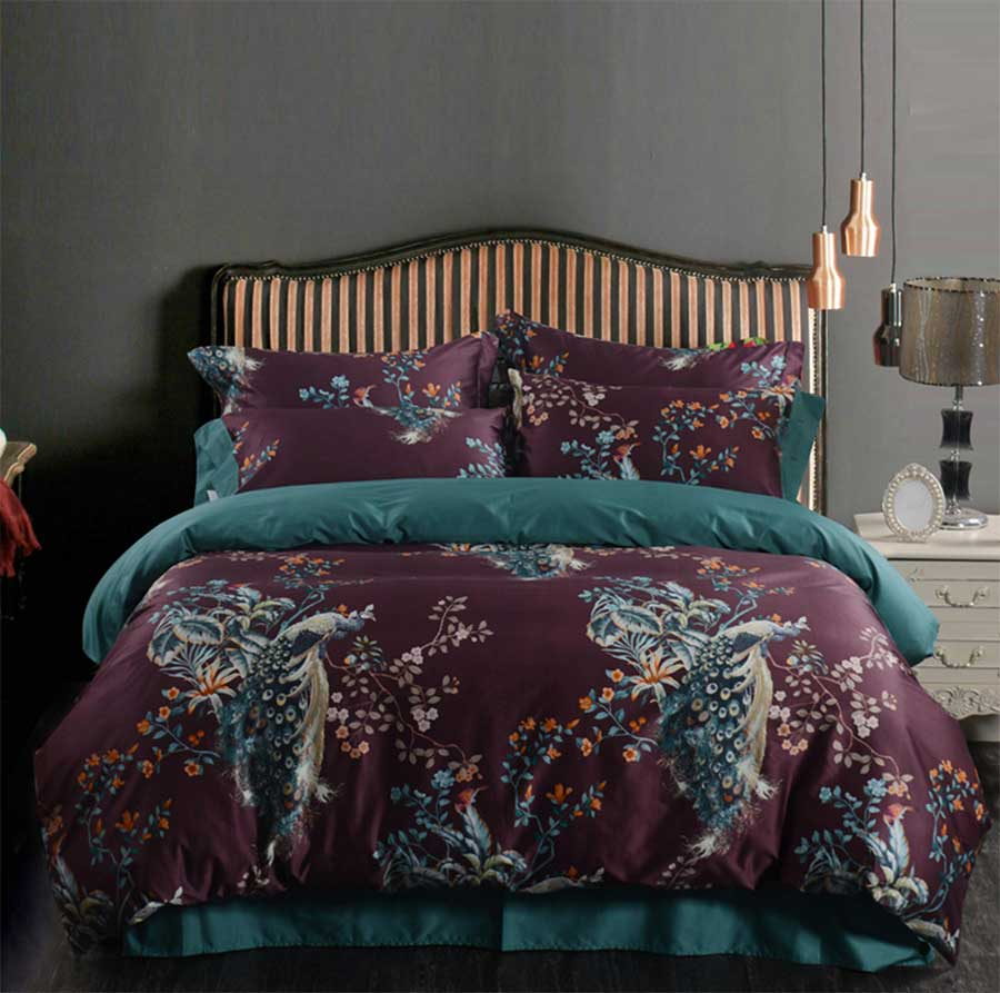 Peacock bedroom set - European American Bedding Set Adult Full Queen King Cotton 100s Pastoral Peacock Home Textile Flat Sheet Pillow Case Quilt Cover
