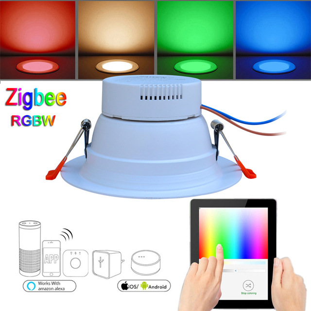 6pcs Smart Home 9W RGBW Zigbee LED Downlight Work with Amazon Echo Plus Directly Smart Lighting Solution