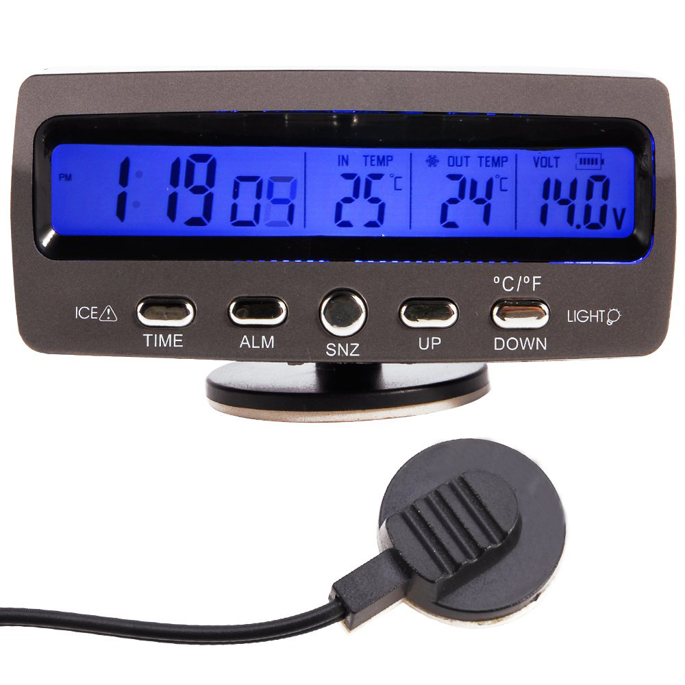 Rilevatore di tensione temperatura Car Auto A Cristalli Liquidi display digitale di allarme termometro orologio di Controllo di allarmeRilevatore di tensione temperatura Car Auto A Cristalli Liquidi display digitale di allarme termometro orologio di Controllo di allarme