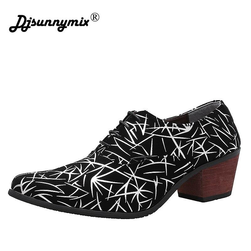 DJSUNNYMIX Brand Men Business Pointed Toe Dress Shoes Lace-ups Men Wedding Shoes high heels 6cm недорго, оригинальная цена