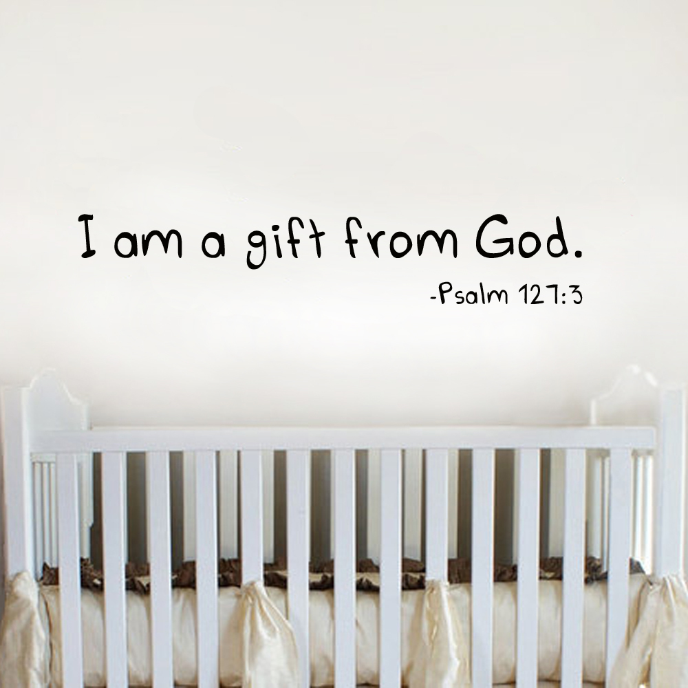 I Am A Gift From God Baby Wall Quote Nursery Vinyl Wall Decal Childu0027s Room Vinyl Wall Decal 22  x 4 XS-in Wall Stickers from Home u0026 Garden on Aliexpress.com ... & I Am A Gift From God Baby Wall Quote Nursery Vinyl Wall Decal ...