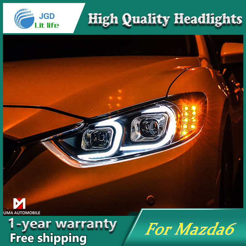 Car Styling Head Lamp case for Mazda6 Mazda 6 2014-2016 Headlights LED Headlight DRL Lens Double Beam Bi-Xenon HID Accessories high quality car styling case for vw beetle 2013 2014 headlights led headlight drl lens double beam hid xenon car accessories