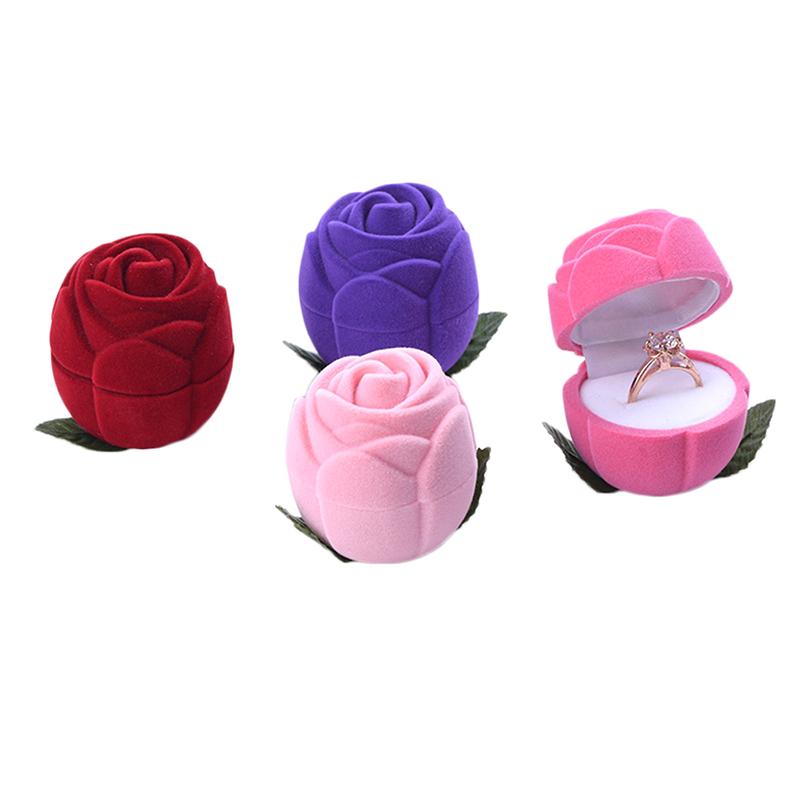 Red Rose Ring Box Personalized Wedding Originality Gift Box Valentines Engagement Box Jewelery Packaging Box