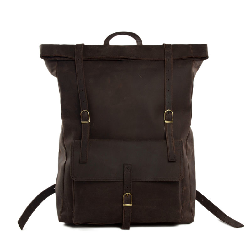 ROCKCOW Roll Top Genuine Leather Backpack Travelling Backpack Weekend Bag Dropshipping MG31 недорго, оригинальная цена