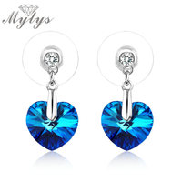 2016 New Arrival The Heart Of The Ocean Platinum Plated Blue Austrian Crystal Drop Earrings Free