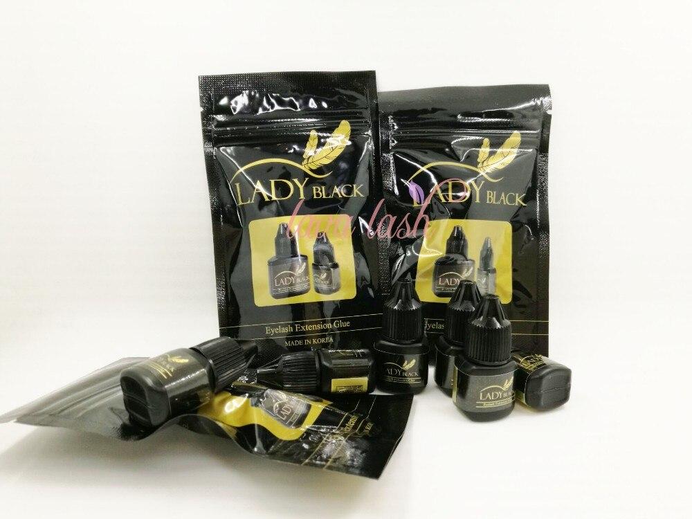 Eyelash Glue Fast Drying Black Lady Glue With Sealed Bag For Eyelash Extensions 5 Bottles 5ml/lot Low Irritation Fume Adhesive Strongest Handsome Appearance