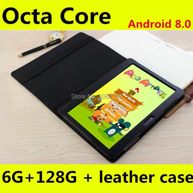Envío Gratis Android 8,0 Octa Core Tablet PC de 10 pulgadas 6GB RAM 128GB ROM 8MP WIFI A-GPS 3G 4G LTE IPS 1280*800 de la pc de la tableta 10,1