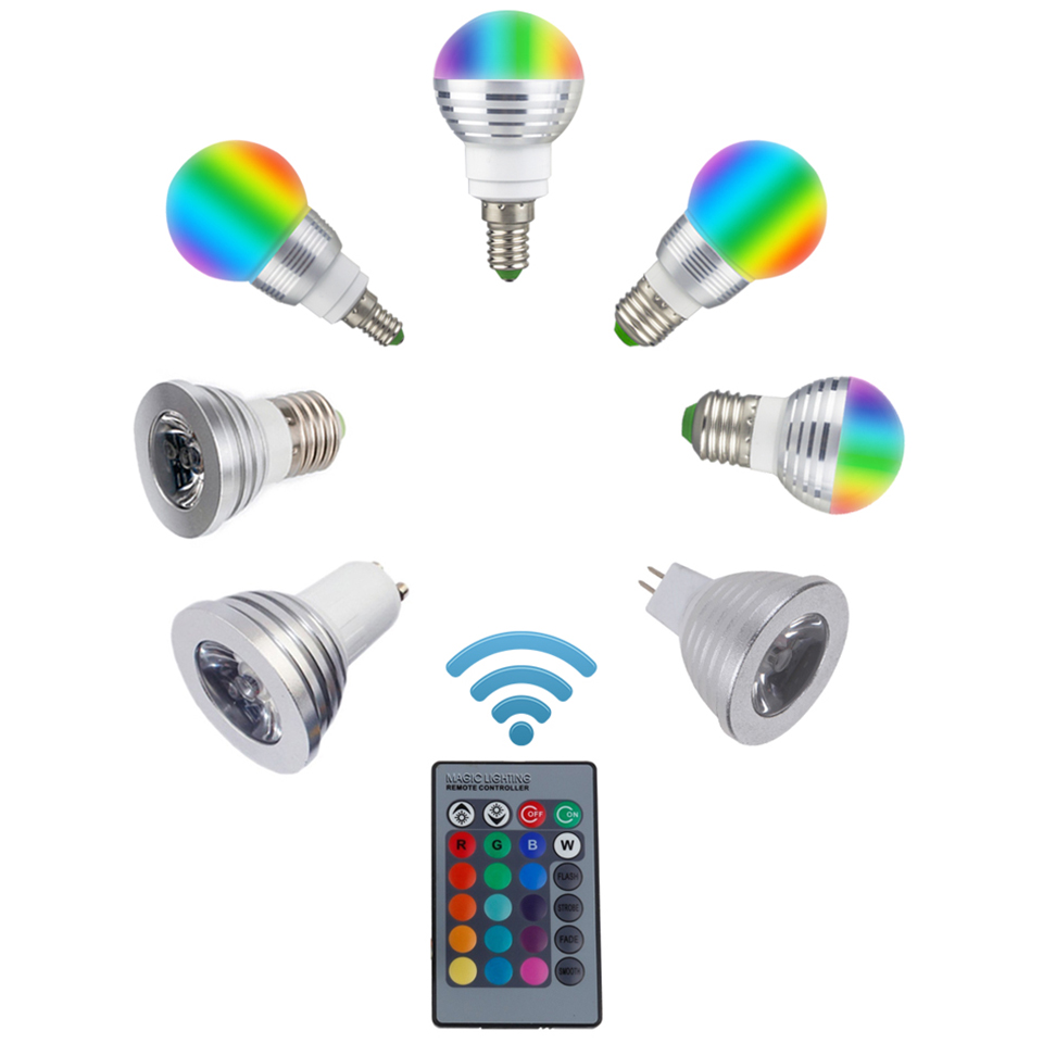 LED RGB Bulb Lamp E27 E14 GU10 85-265V MR16 12V LED Changeable Spotlight 3W Magic Holiday RGB Lighting +Remote Control 16 Colors
