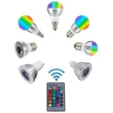 Led rgb 전구 램프 e27 e14 gu10 85 265 v mr16 12 v led 변경 가능한 스포트 라이트 3 w 매직 홀리데이 rgb 조명 + 원격 제어 16 색