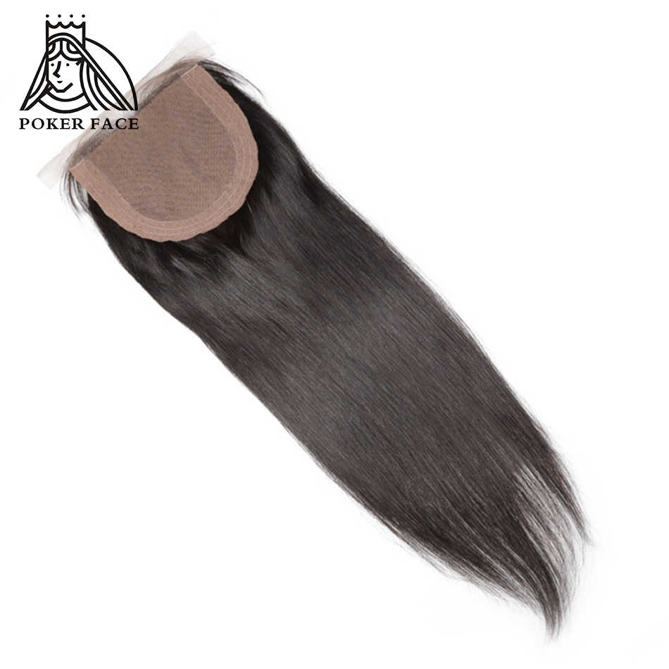 Poker Face Silk Base 4x4 Closure Human Straight Hair Bleached Knots Middle Part 8-20 inch Remy Brazilian