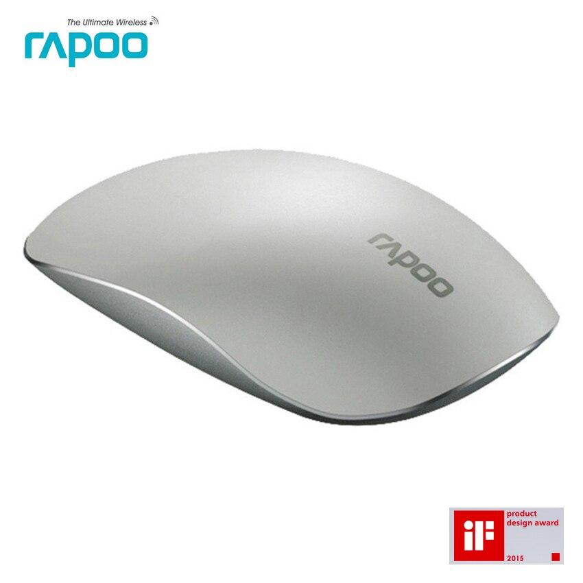 Prix pour Rapoo t8 mince silencieux sans fil laser tactile souris avec alliage couverture ergonomique souris de jeu d'ordinateur affaires magie souris pour pc