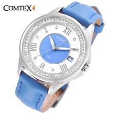 COMTEX montre femmes Bracelet En Cuir Casual Boîtier En Acier Inoxydable ami Bleu Blanc Date quartz Analogique montre-bracelet horloge pour Lady cadeau